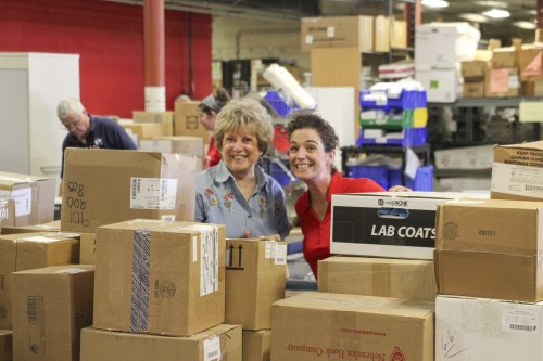 Jan and Nadine amongst the boxes